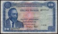1969 KENYA 20 SHILLINGS BANKNOTE * A/29 937840 * gF * P-8a *