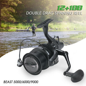 12+1BB 5.1:1 Spinning Fishing Reel w/ Front and Rear Double Drag Carp Left Right