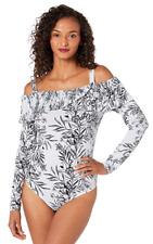 Guess Women's Off Shoulder Amy Bodysuit Floral Gray Pattern Medium Bouquet Frost