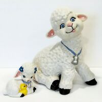 Set of (2) Vintage Kitsch Hand Painted Ceramic Lamb & Baby Easter Nursery Décor