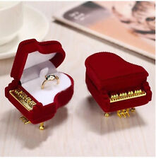 piano Velvet Jewellery Ring Necklace Display Box Gift earrings gold Case red uk
