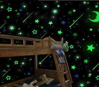 200pcs Pack Glow In The Dark 3D Stars Moon Stickers Bedroom Wall Room Decor DIY