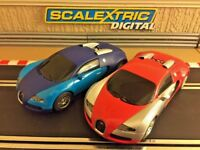 Scalextric Digital Bugatti Veyron Twin Pack Fully Serviced & New Braids Fitted