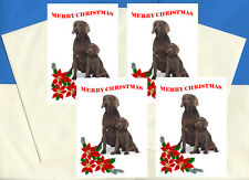 WEIMARANER PACK OF 4 CARDS DOG PRINT GREETING CHRISTMAS CARDS