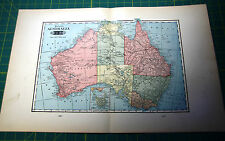 Australia - Rare Original Vintage 1900 Antique Tunison Colored World Atlas Map