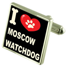 J'aime mon chien Argent Sterling 925 Boutons de manchette de montres de Moscou