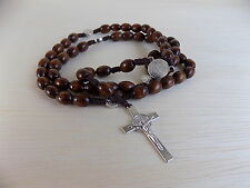 Rosary - St Benedict Dark Brown wooden Rosary, Rosario de Madera, Color Cafe