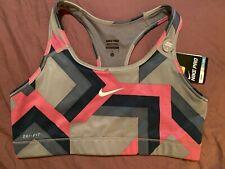 NWT New Womens Nike Pro Sports Bra Top Dri-Fit Grays Pink Block L