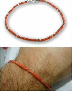 Red Coral Bracelet with 925 Sterling Silver for Men REAL Gemstone Natural Stone