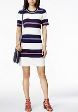 NWT TOMMY HILFIGER WOMEN MULTICOLOR STRIPE BUTTON SHOULDER SWEATER DRESS SIZE L