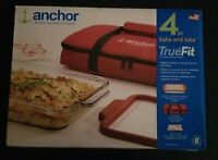 Anchor Hocking True Fit 4pc Bake And Take Glass Baking Dish Insulated Tote