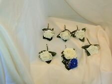 WEDDING FLOWERS IVORY AND ROYAL BLUE BUTTONHOLE PACKAGE X  6 + PEARLS