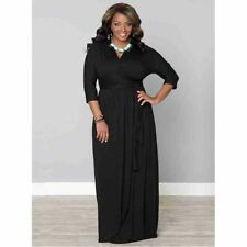 Kiyonna Plus Size Dress Size 4X Black Maxi Wrapped in Romance Gown Made in USA