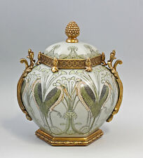 9937558-dss Bronze Keramik Bowle Deckel-Dose Jugendstil Marabu H37cm