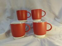 Set of 4 Sino Sing Ware Coffee Mugs Red With White interior and base 10oz  RARE