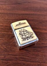 RARE ZIPPO 2000 STERLING SILVER LIGHTER: CARVED BONE & MOTHER OF PEARL