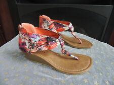 Womens Size 7  * MADDEN GIRL * Wedge Heel Orange-Multi Water Color Sandals