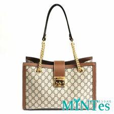 Auth Gucci GG Supreme Padlock Chain Shoulder Bag 479197 Beige Brown Women Elegan