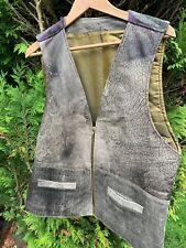 Men's Vintage Zipped V Neck Waistcoat Vest Faux Leather Size L