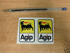 small pair of Agip stickers 50mm high - car / motorcycle decals