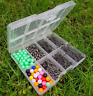 SEA FISHING TACKLE SET HOOKS BEADS SWIVELS BAIT CLIPS IN TACKLE BOX RIG MAKING