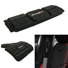 2Pcs Nismo Black Leather Memory foam Car Seat Belt Covers Shoulder Pads Cushion