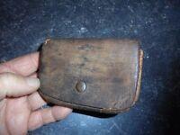 Ancien Petit Porte Monnaie de Poche de Grand Père en Cuir 5 poches