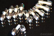 10 Schrauben Gewindestift+Kappen verchromt Metall Chrom Glas Plexiglas Halter