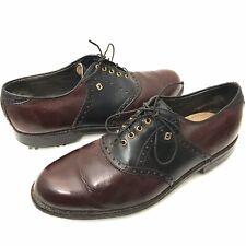 VTG FootJoy Classics USA Mens 10 D Golf Shoes Soft Spikes Burgundy Black Leather