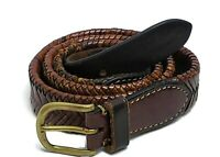 Vintage Polo Ralph Lauren Brown Fishtail Braided Leather Belt - Size 34