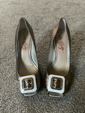 Gold Miss Sixty Peep Toe Gold White Heels Size 5 Shoes