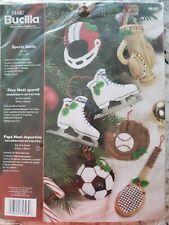 2006 Bucilla Sports Santa Embroidery Sequin Bead Xmas Felt 6 Ornaments 85323 NOS