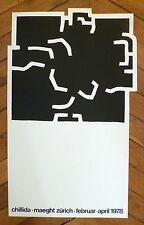 CHILLIDA Affiche originale Lithographie 1978 art abstrait abstraction Espagne