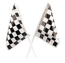 RACING PARTY Chequered Flags Black and White Check Small Plastic Flag Pack of 4