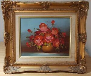 Vintage wood ornate gilt frame oil on canvas painting roses original signed