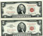 CRISP 2 NOTE SET 1963 + 63 A $2 TWO Dollar Red Seal Legal Tender  AU CRISP 70943