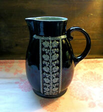 """Cobalt Blue Gray Embossed Floral 9"""" Heavy Pottery Pitcher Signed"""