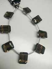 "SMOKY QUARTS OCTAGAN SQUARE FACETED 10X14 MM BEADS APX. 7"" STRANDS ,8 BEADS"