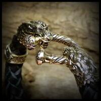 CELTIC WOLVES Natural Leather & Bronze Wolf Heads Bracelet