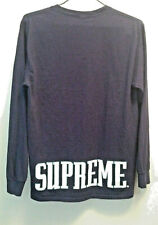 SUPREME blue long sleeves T Shirt size M, with white logo printed on back