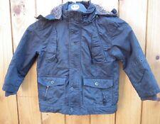MATALAN Boys Black/Grey Hooded Winter Coat Age 4-5yrs