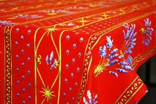 """LE CLUNY, LAVENDER RED FRENCH PROVENCE COATED COTTON TABLECLOTH, 60"""" X 120"""""""