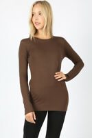 Premium Cotton Basic Long Sleeve Solid Top Womens Plain T-Shirt Crew Neck Zenana