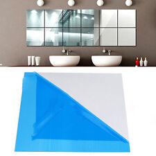 Mirror Tile Wall Sticker Square Self Adhesive Room Decor Stick On Modern Art
