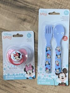 Disney Baby Minnie Mouse Fork and Spoon Set and Bonus Pacifier with Cover