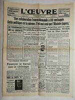 N716 La Une Du Journal L'œuvre 31 octobre 1940 collaboration franco-allemande