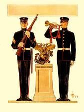 Retrato De Grupo De Pintura Usa Marines rifle Bugle Uniforme Guerra Primera Guerra Mundial Poster BB8874