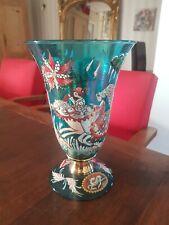 Ancien Vase En Verre émaillé signé à déchiffrer
