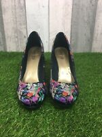 M&S Limited Collection Navy Satin Floral Court Shoes Size UK 6