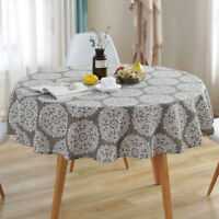 Floral Printed Tablecloth Non-Slip Cotton Linen Round Washable Dinning Table Mat